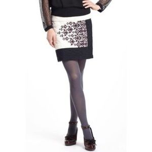 Anthro Floreat Embroidered Quilted Mini Skirt